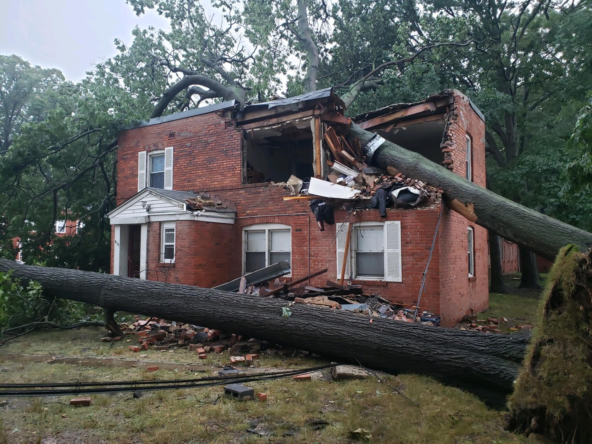 Tree Damages Two Essex Apartment Buildings