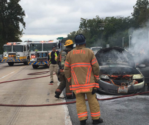 Car Fire Reported Near White Marsh Double T Diner